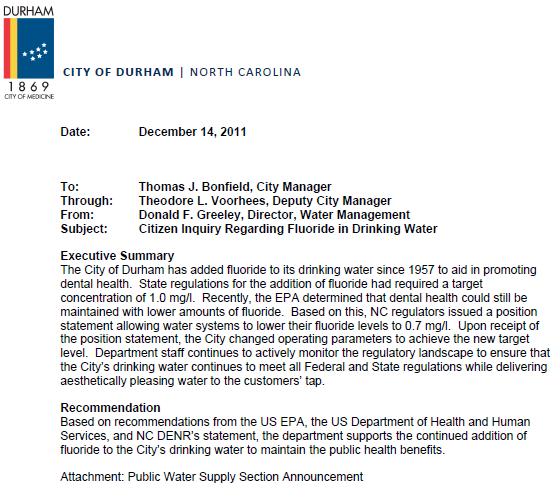Municipal Durham Against Fluoride