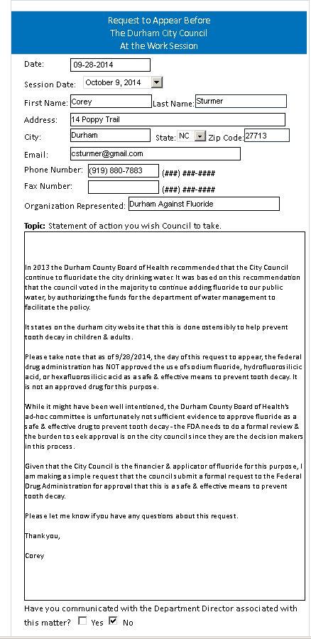 Council Durham Against Fluoride